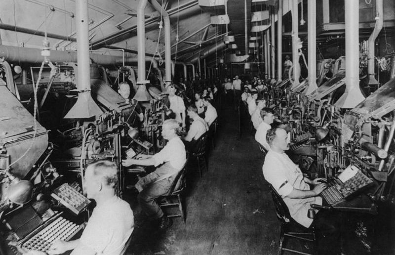 Composing room with linotype machines, New York Herald, 1902