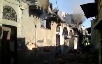 Aftermath of the shelling in the Midan district of Damascus