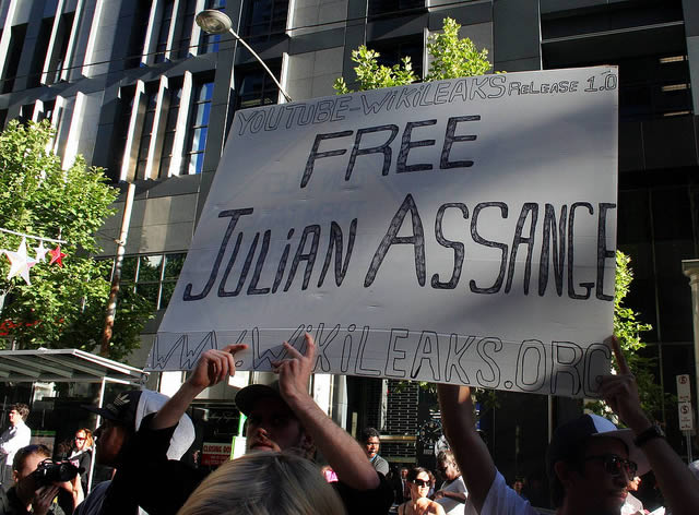 People protesting Julian Assange's extradition in Melbourne, Australia