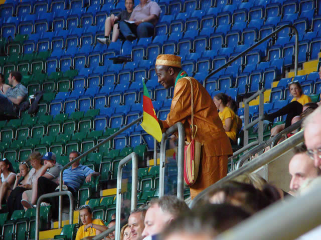 A Cameroonian fan at the London 2012 Olympics