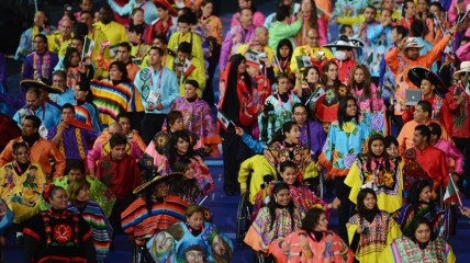 Mexico's Paralympic team parades during the opening ceremony