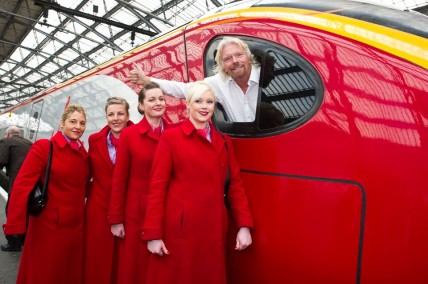 Richard Branson in a Virgin train