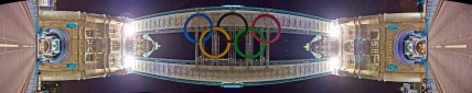 Panorama of Olympic Rings on Tower Bridge, London by Robin Baumgarten