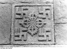 Photograph of a swastika decoration on a building in Lhasa by Ernst Schaefer