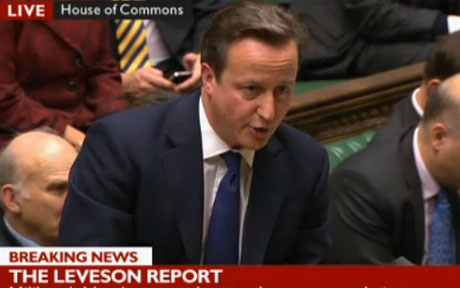 David Cameron in the House of Commons discussing the Leveson Report