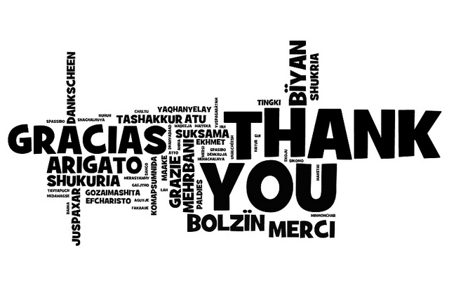 """Thank you"" translated into various languages"