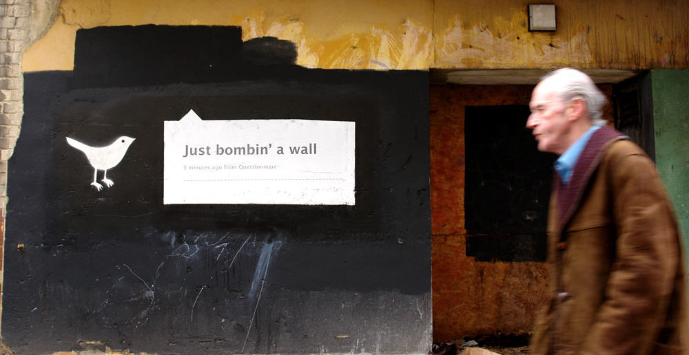 "Twitter: ""Just bombin' a wall"""