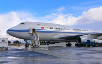 Air China aeroplane being loaded with cargo