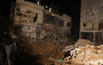 Destruction caused by an unlawful airstrike by Israel in Gaza which killed 12 people