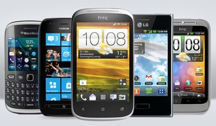 A variety of different smartphones