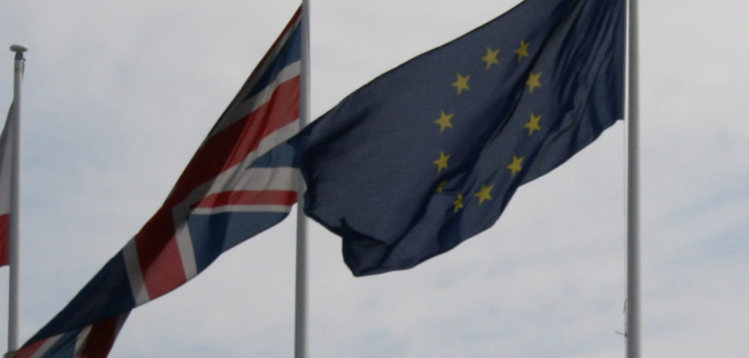 UK and European flags flying