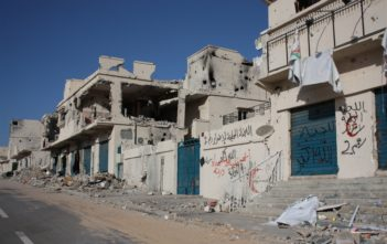 Damaged buildings in Sirte in the aftermath of the conflict