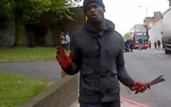 Woolwich attacker brandishing a knife with bloodied hands