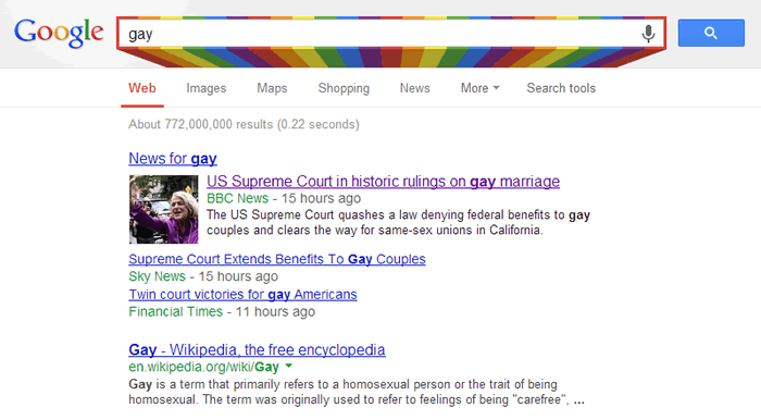 "Google's ""gay"" easter egg"