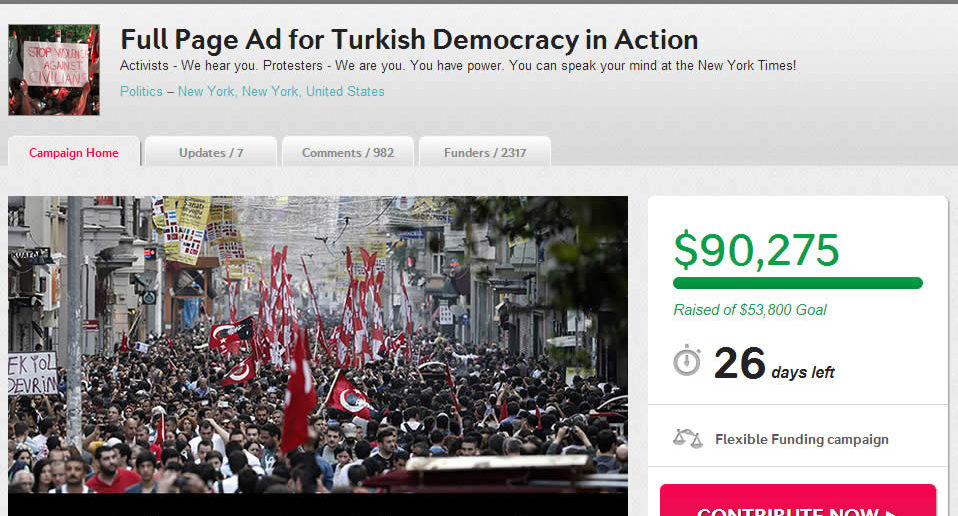 Indiegogo: Full Page Ad for Turkish Democracy in Action