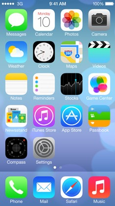 iOS7's home screen shows the flatter design on the icons we all know and love