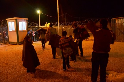 Syrian refugees enter Za'atari camp in northern Jordan