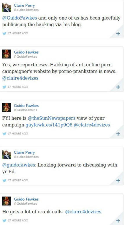 Twitter coversation between Claire Perry MP and Guido Fawkes