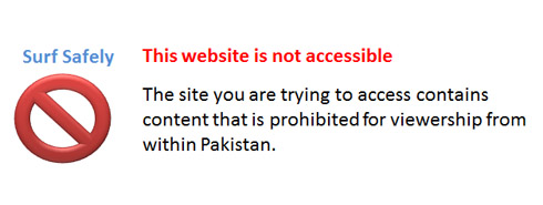 Message shown to internet users in Pakistan when attempting to view a censored website