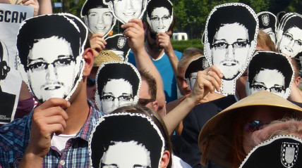 Protesters supporting Edward Snowden