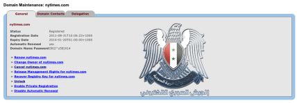 Screenshot of Twitter domain hack by the Syrian Electronic Army