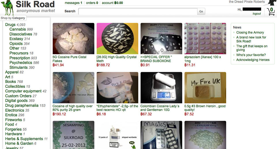 Screenshot of the Silk Road marketplace where anonymous users sold drugs, stolen credit card information, and gun for Bitcoins