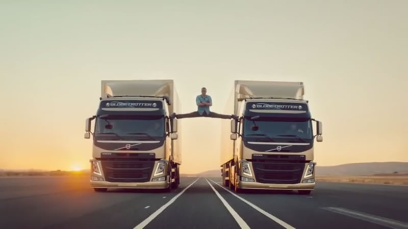 Jean-Claude Van Damme does the splits in an advert for Volvo Trucks