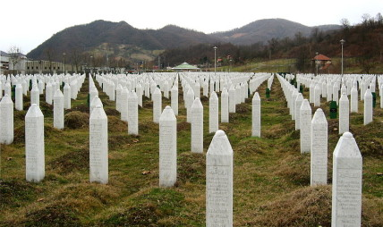 Gravestones at the Potočari genocide memorial near Srebrenica