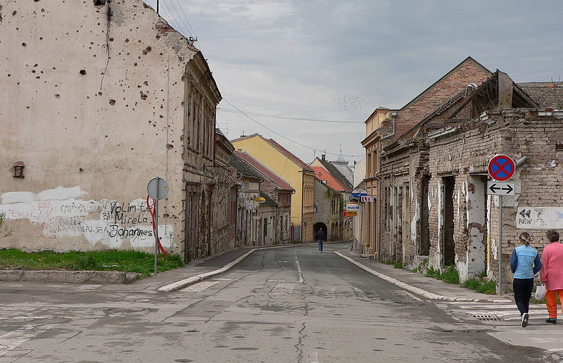 Vukovar's main street with obvious damage from the shellings during the war of independence.