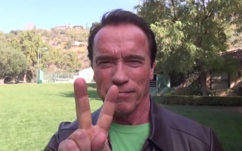 Arnold Schwarzenegger in his video of support for the Ukrainian protesters