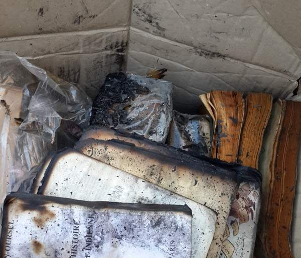 Burned books from Tripoli library, Lebanon