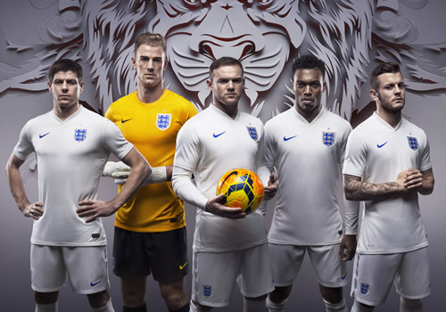 England home kit for 2014 World Cup in Brazil