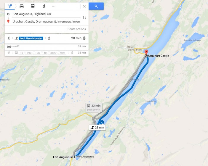 Travel by Loch Ness Monster with Google Maps
