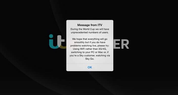 ITV Player World Cup issues