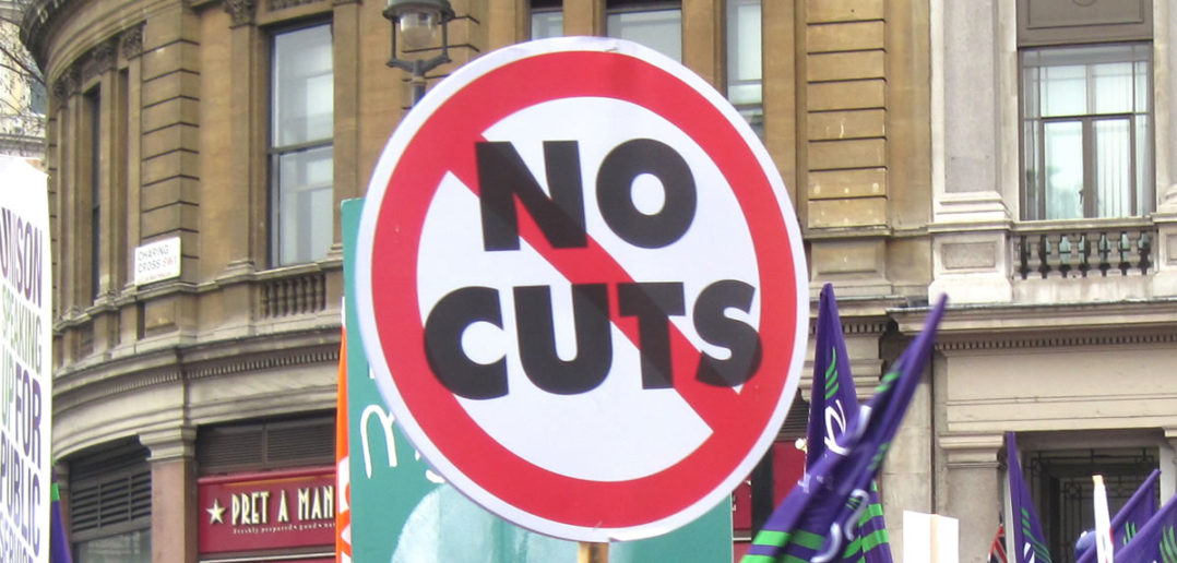 """No Cuts"" strike placard"