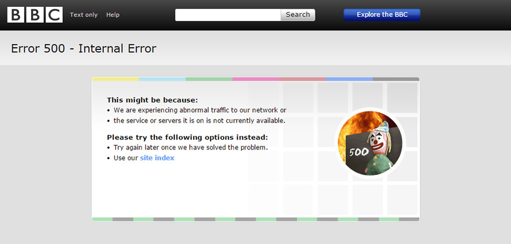 BBC News 500 error