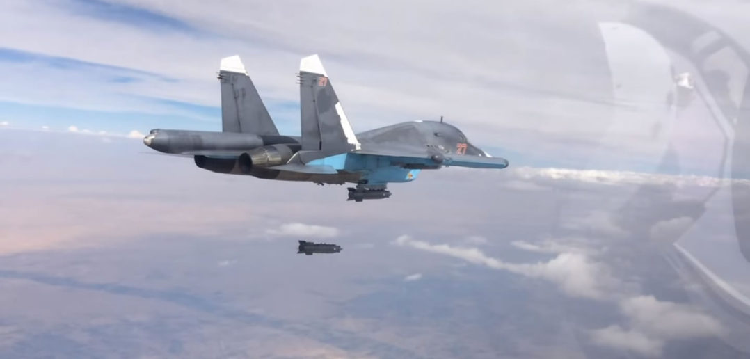 Russian Air Force SU34 drops bomb over Syria