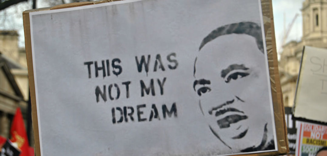 Not my dream protest placard