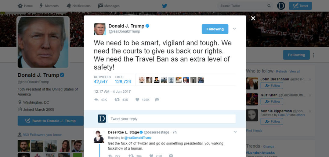 Trump travel ban tweet after London Bridge attack