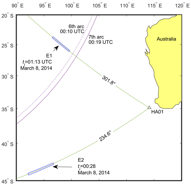 The two events (E1 and E2) captured on March 8 2014, between 00:00 UTC and 02:00 UTC.