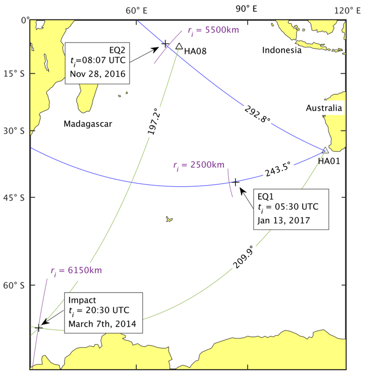 Location of earthquakes, and of signal thought to be from an object impacting the surface