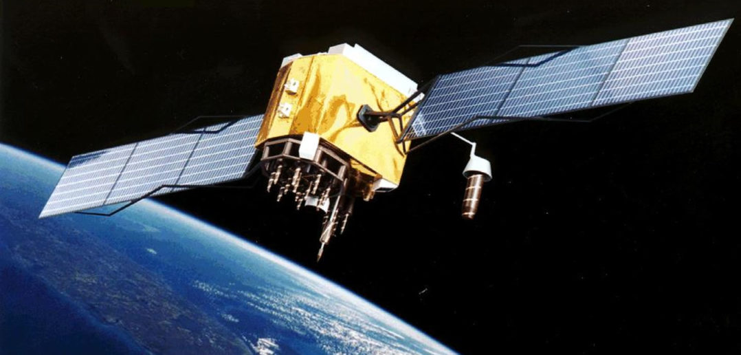 Artist's conception of GPS Block II-F satellite in Earth orbit