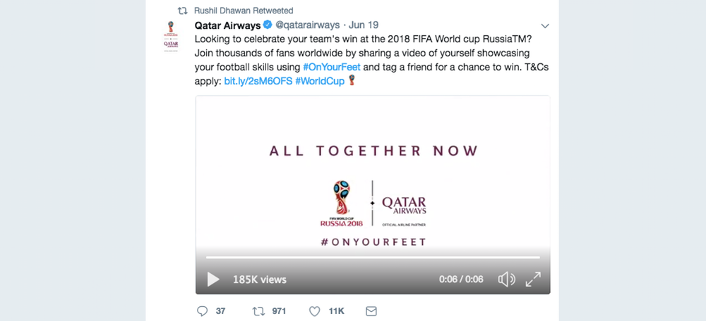 Retweet of Qatar Airways corporate account