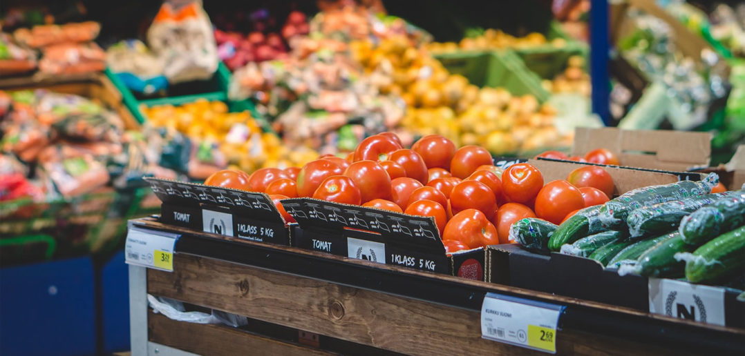 Fruit and vegetables at the supermarket