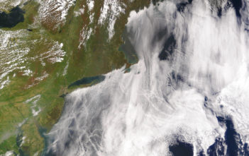 Satellite image of ship tracks, clouds created by the exhaust of ship smokestacks