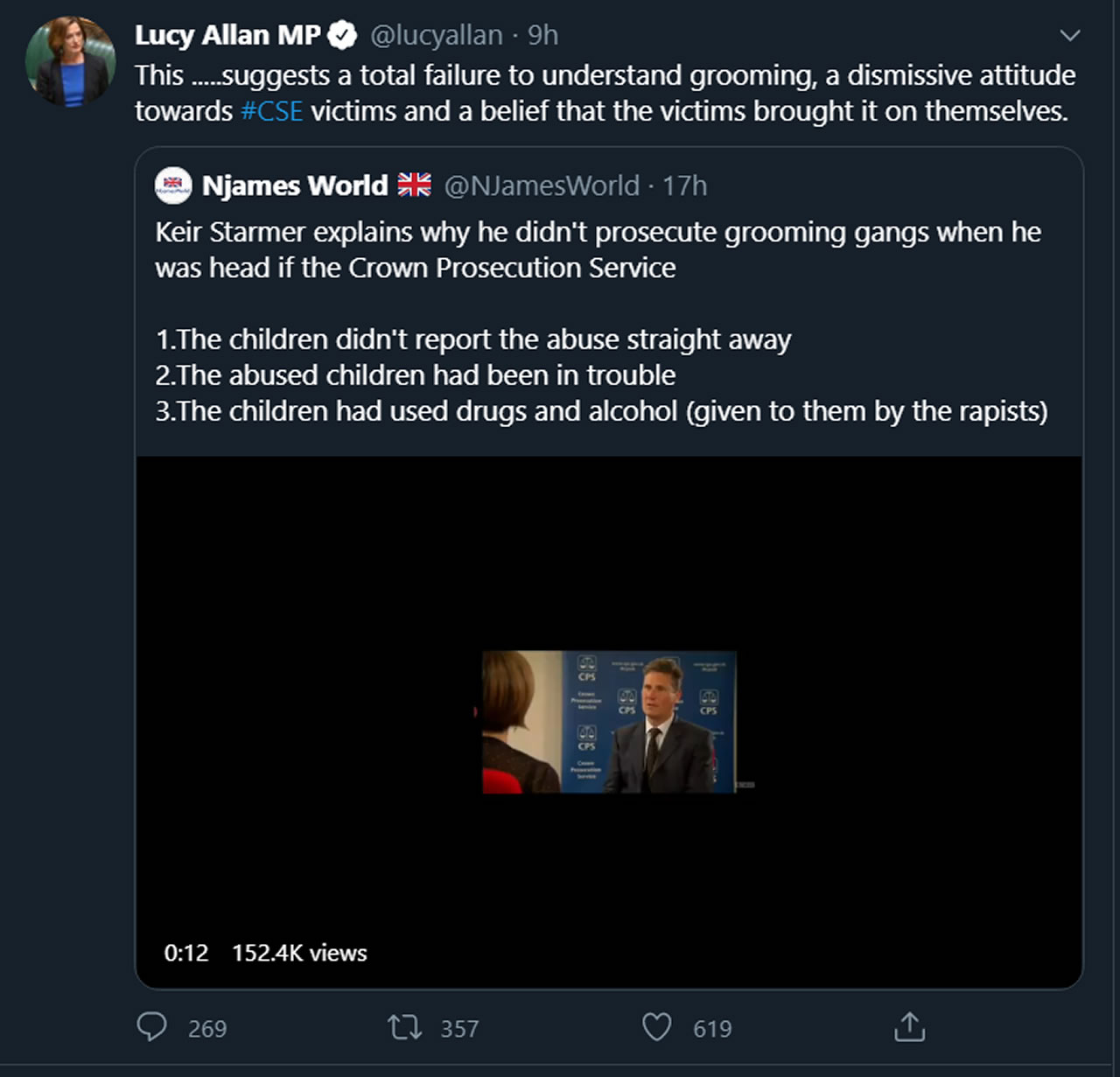 Lucy Allan MP attempts to defame Keir Starmer on Twitter with an edited video.