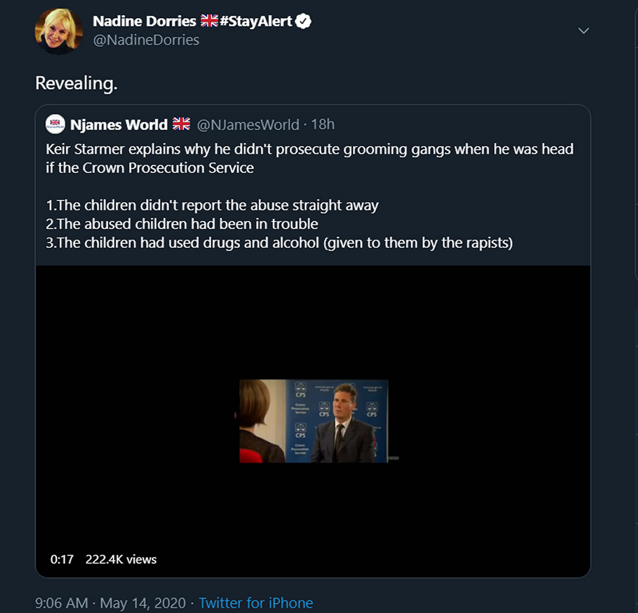 Nadine Dorries MP attempts to defame Keir Starmer on Twitter with an edited video
