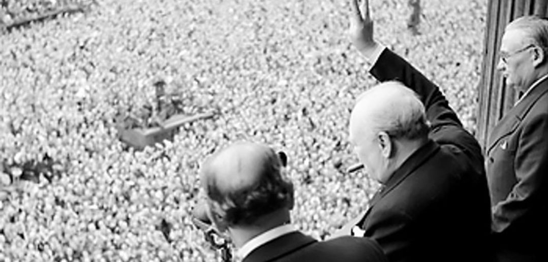 Winston Churchill celebrates VE Day in 1945
