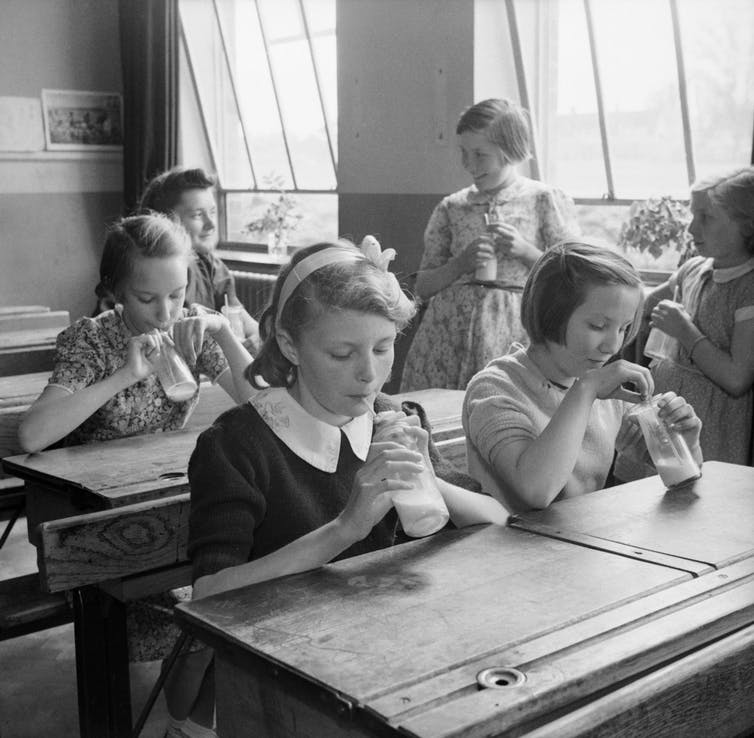 School children drinking milk, 1944