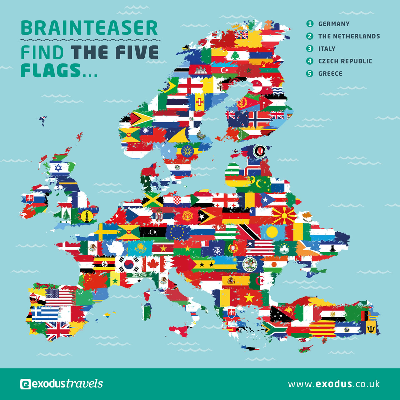 Find the five flags